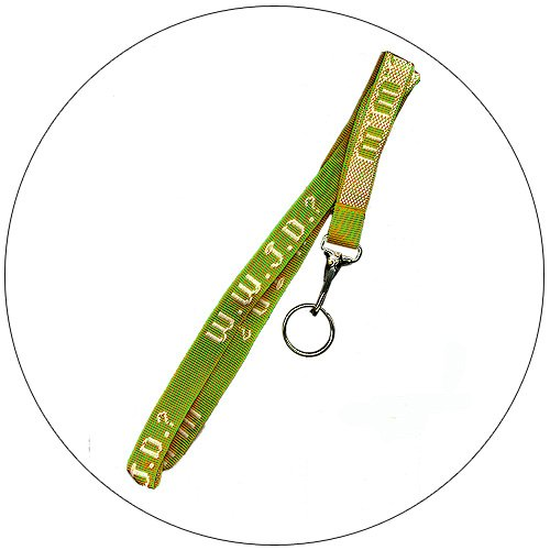 "WWJD Key / Neck Lanyard Chain - NEON GREEN- 3/4"" x 20"""