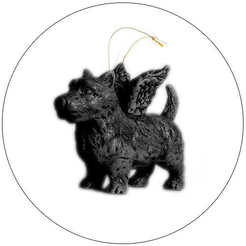 Angel Dog Tree Ornament - Black