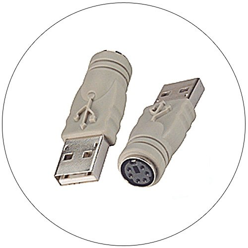 PS2 Mouse to USB Port Adapter, USB-A Male to Mini Din 6 Female
