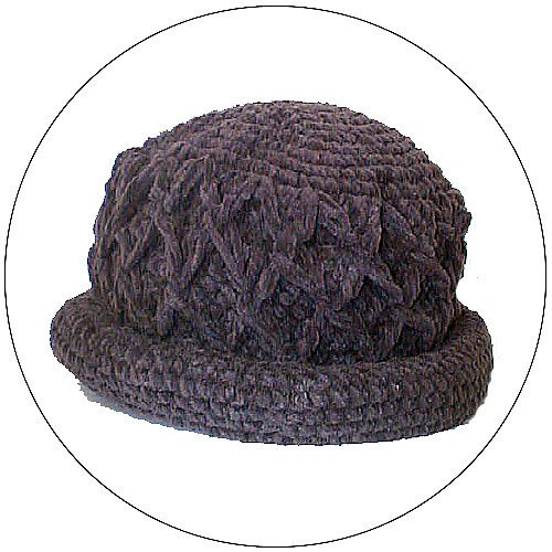 Women's Roll Brim Chenille Hat  w/ Design - Dark Gray