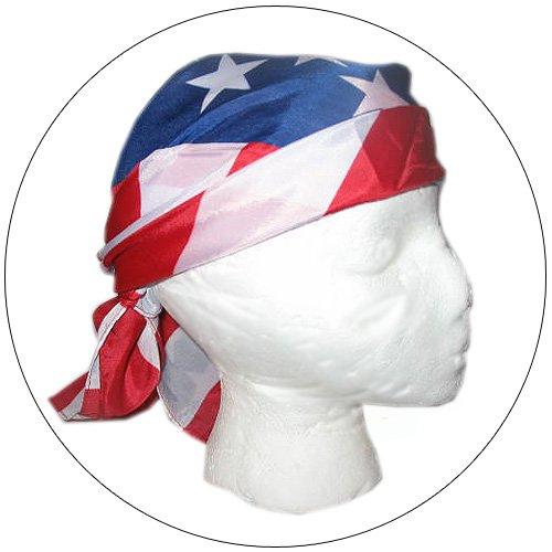 "Patriotic USA Silk Dew Rag / Scarf / Headband - Measures 27"" x 27"""