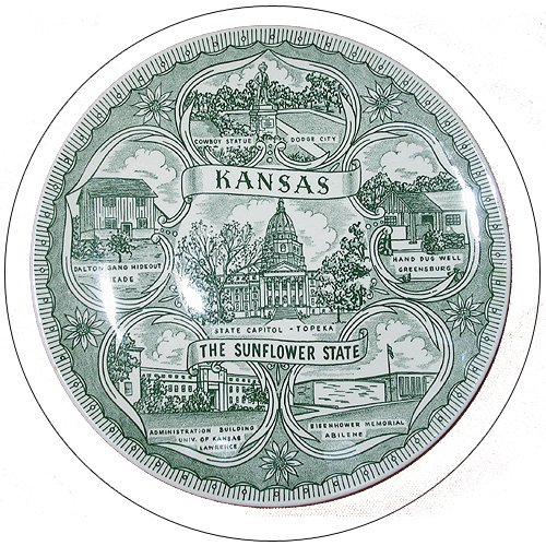 Kansas The Sunflower State - Collectible State Plate - (Preowned - Very Good).