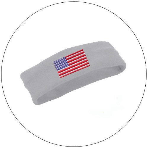 Soft Stretchable Chill Fleece Embroidered USA Flag Headband / Earband - Color: Lt. Grey