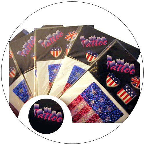 Glitter Tattoo - Patriotic USA Flag - Removable - Pack of 5