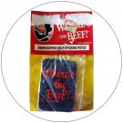 """Vintage """"WHERE'S THE BEEF"""" Denim Look - Embroidered Iron-On Patch  - New Original Package Stock"""