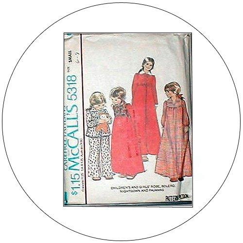 McCall's No. 5318 Vintage Sewing Pattern - Girls Robe Bolero NightGown & Pajamas - Size Small 6-8