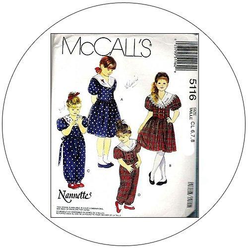 McCall's No. 9206 Sewing Pattern - Girls Dress Jumpsuit and Headband - Size 6-7-8