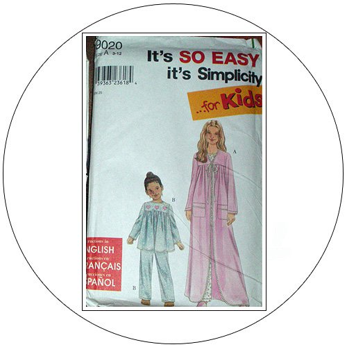 Simplicity No. 9020 Sewing Pattern - Child's & Girl's Sleepwear - Size 3-12