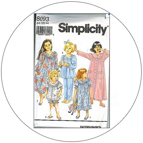 Simplicity No. 8093 Sewing Pattern - Girl's & Child's Nightgown, Robe & Pajamas - Size 3-6