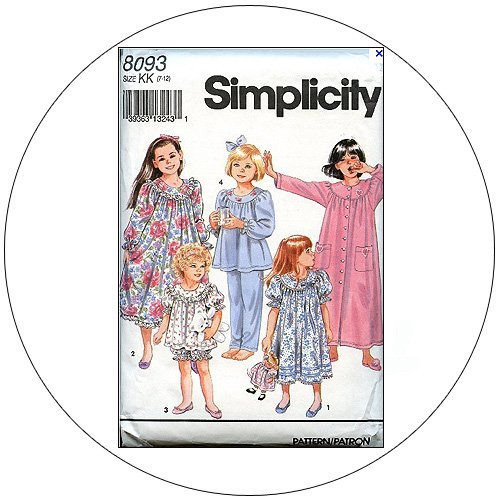 Simplicity No. 8093 Sewing Pattern - Girl's & Child's Nightgown, Robe & Pajamas - Size 7-12