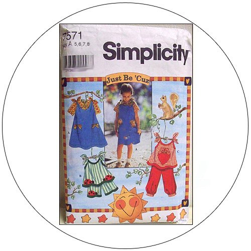 Simplicity No. 7571 Sewing Pattern - Child's Jumper or Top, Blouse, Shorts And Pants - Size 5,6,7,8