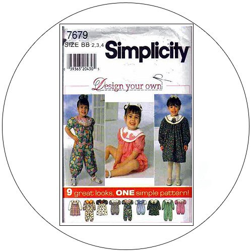 Simplicity No. 7679 Sewing Pattern - Toddler's Dress, Jumpsuit and Romper - Size 2,3,4