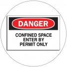 "Danger Confined Space Enter By Permit... Self-Adhesive Label Sign - 7""H x 10""W - Grainger No. 1M004"