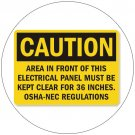 "Caution Area In Front Of This Electric... Self-Adhesive Label Sign - 7""H x 10""W - Grainger No. 9AA91"