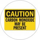 "Caution Carbon Monoxide May Be Present Sign - OSHA Approved. 10"" x 14"". Dura-Fiberglass."