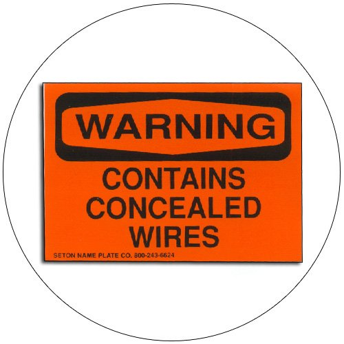 "Warning Contains Concealed Wires Self-Adhesive Label - 3 1/2""H x 5 1/2""W - SETON"