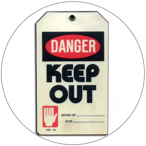 "Danger Keep Out Tag - Plastic - 5 1/2""H x 3 1/4""W - PLASTICTIP  No. Tag-54"