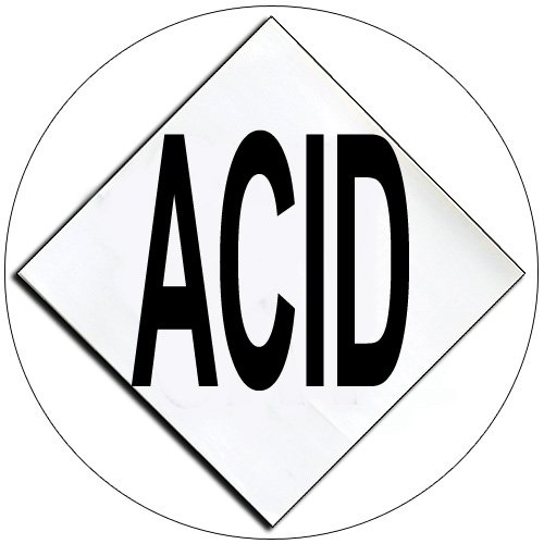 "Chemical Hazard Panel Characters Self-Adhesive Label - ACID - 5 1/2"" x 5 1/2"" - EMEDCO No. DCI4-ACID"