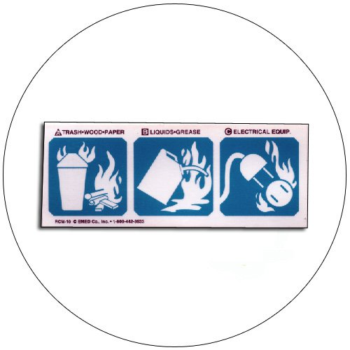 "A, B, C Fire Extinguisher Symbols Self-Adhesive Label - 2""H x 5""W - EMEDCO No. RCM10"