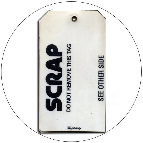 "Scrap Production Tag -  Plastic - 5 1/2""H x 3 1/4""W - PLASTICTIP No. Tag-200"