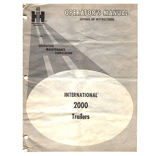Original International Harvester Operator's Manual: International 2000 Trailers - 1083854R1