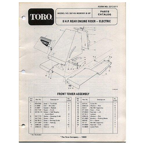 Original Toro 8 H.P. Rear Engine Rider - Electric - Parts Catalog - 3313-911 (1989)