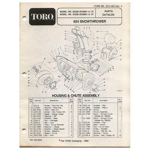 Original Toro 824 Snowthrower Parts Catalog - 3313-590 Rev. A (1988)