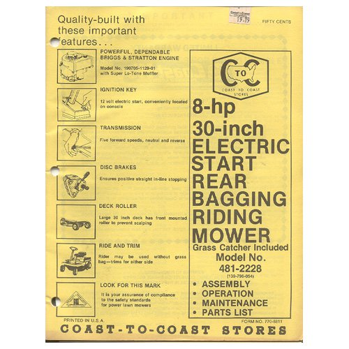 """Original 1979 Coast To Coast Stores Owner�s Manual 8-hp 30"""" Electric Start Riding Mower 481-2228"""