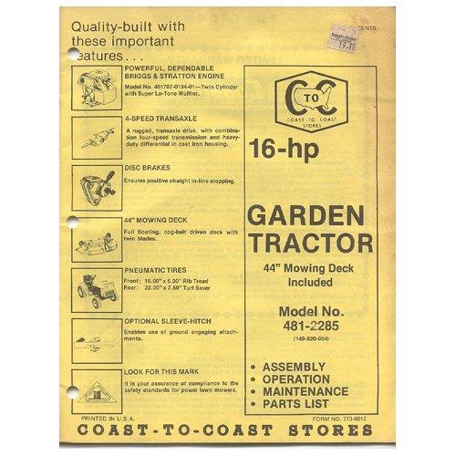 Original Coast To Coast Stores Owner�s Manual 16-hp Garden Tractor 44� Mowing Deck Incl 481-2285