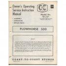 Original 1974 Coast To Coast Stores Owner's Manual Plowhorse 500 Tiller Model No. 338-7222