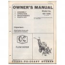 Original 1977 Coast To Coast Stores Owner's Manual Plowhorse Tiller Model No. 481-1006