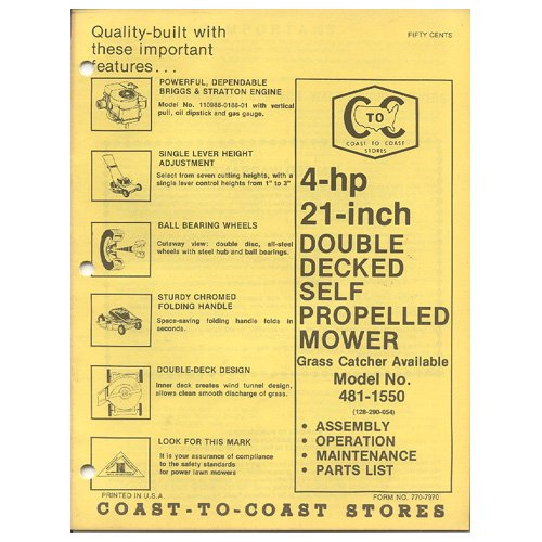 "Original 1978 Coast To Coast Stores Owner�s Manual 4 hp 21"" Self Propelled Mower Model 481-1550"