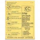 "Original 1978 Coast To Coast Stores Owner's Manual 4 hp 21"" Self Propelled Mower Model 481-1550"