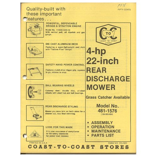 """Original 1978 Coast To Coast Stores Owner�s Manual 4-hp 22"""" Rear Discharge Mower Model 481-1576"""