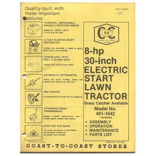 """Original 1978 Coast To Coast Stores Owner�s Manual 8 hp 30"""" Lawn Tractor Model 481-1642"""