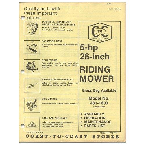 "Original 1978 Coast To Coast Stores Owner�s Manual 5-hp 26"" Riding Mower Model No. 481-1600"