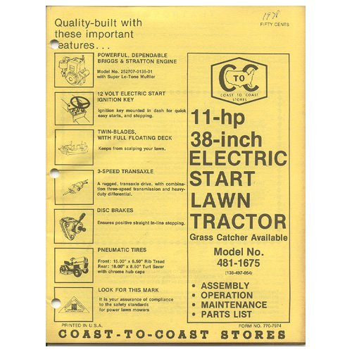 "Original 1978 Coast To Coast Stores Owner�s Manual 11 hp 38"" Lawn Tractor Model 481-1675"