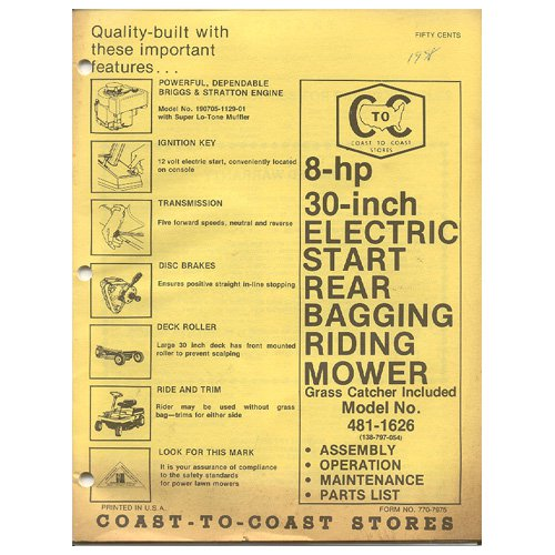 "Original 1978 Coast To Coast Stores Owner�s Manual 8-hp 30"" Riding Mower Model 481-1626"