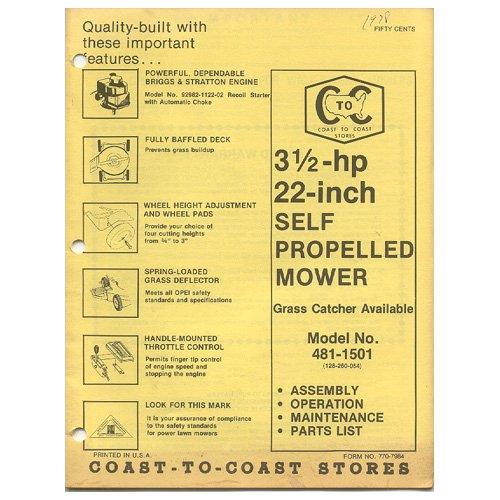 "Original 1978 Coast To Coast Stores Owner�s Manual 3 1/2-hp 22"" Self Propel Mower Model 481-1501"