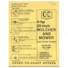 "Original 1976 Coast To Coast Stores Owner's Manual 4-hp 20"" Mulcher & Mower Model No. 481-1489"