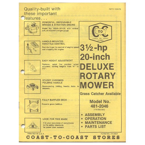 """Original 1979 Coast To Coast Stores Owner�s Manual 3 ½-hp 20"""" Deluxe Rotary Mower Model 481-2046"""