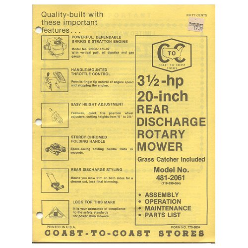 """Original 1979 Coast To Coast Stores Owner�s Manual 3 ½-hp 20"""" Rear Discharge Mower Model 481-2061"""