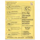 "Original 1979 Coast To Coast Stores Owner's Manual 3 ½-hp 20"" Rear Discharge Mower Model 481-2061"