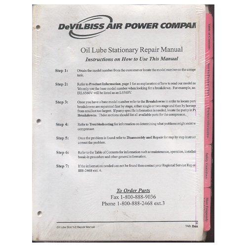 Original Devilbiss Air Power Company Oil Lube Stationary Repair Manual - April, 1999   (New)