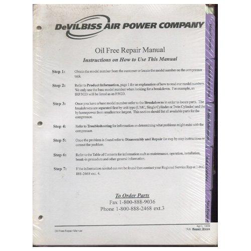 Original Devilbiss Air Power Company Oil Free Repair Manual - April, 1999   (New)