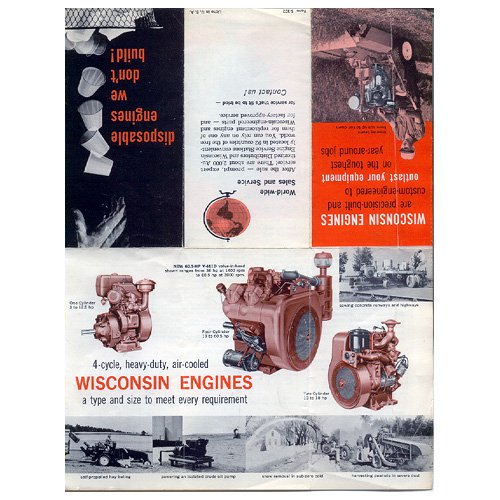 Original Wisconsin Engines Promotional Brochure Precision Engines No. S-302 (Vintage Collectible)