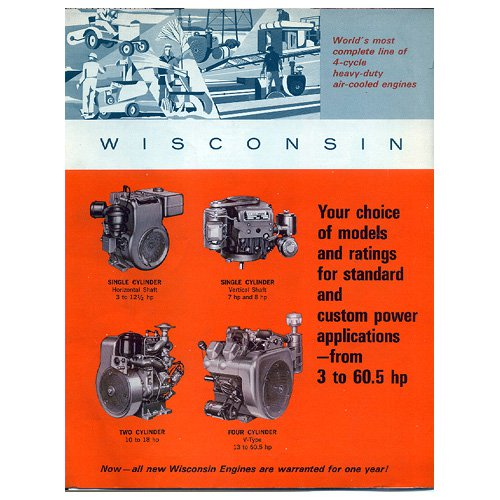 Original Wisconsin Engines Promotional Brochure 3 to 60.5 HP Engines No. S-352 (Vintage Collectible)