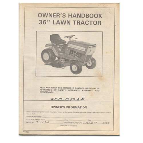Original 1986 Murray Owner�s Handbook 36� Lawn Tractor Model: WCVS-1450A-M / 2-3651X No. F5607
