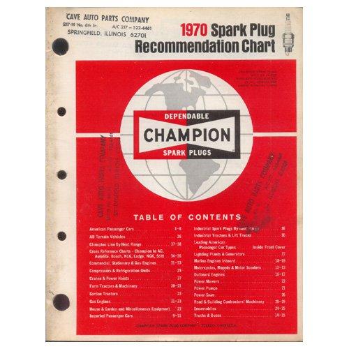 Original 1970 Cave Auto Parts Company Champion Spark Plug Recommendation Chart