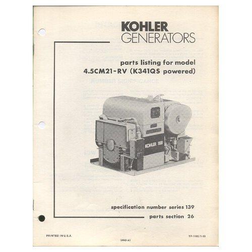 Original 1983 Kohler Parts List Model 4.5CM21-RV (K341QS Powered) No. TP-1183 (Vintage Collectible)